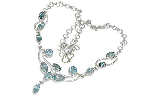 Design 10747: blue blue topaz wedding necklaces