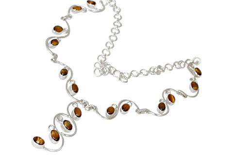 Design 10750: brown tiger eye necklaces