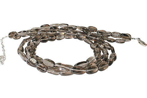 Design 10906: brown smoky quartz multistrand necklaces