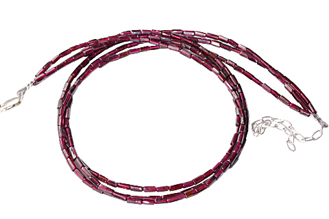 Design 10909: red garnet multistrand necklaces
