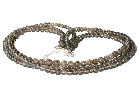 Design 10911: brown smoky quartz multistrand necklaces