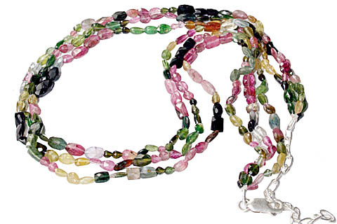 Design 10917: green,pink tourmaline multistrand necklaces