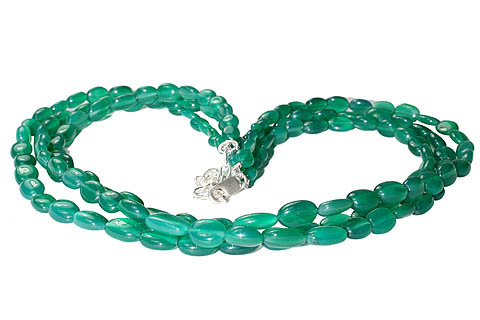 Design 10918: green onyx multistrand necklaces
