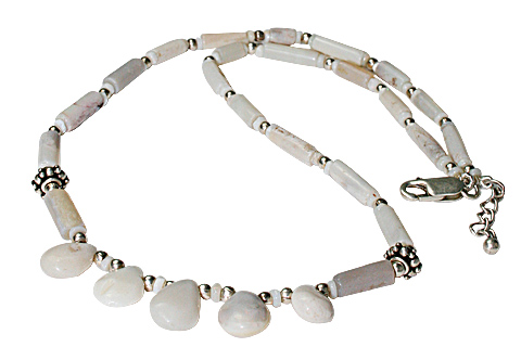 Design 10948: white pink opal drop necklaces