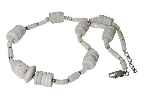 Design 10950: white opal necklaces