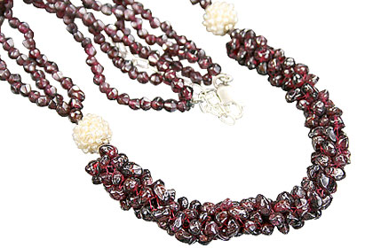 Design 10955: red garnet necklaces