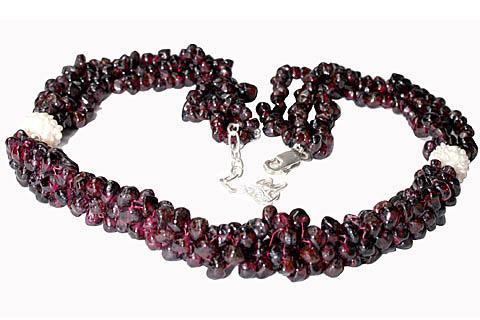 Design 10957: red,white garnet necklaces
