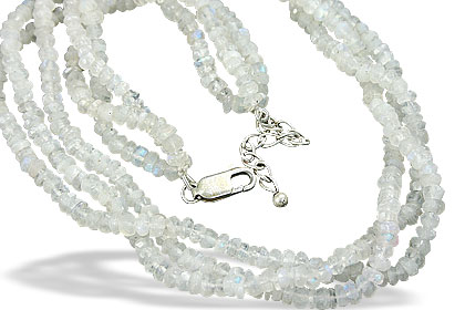 Design 10960: white moonstone multistrand necklaces