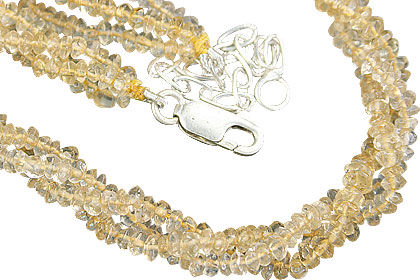 Design 10961: yellow citrine multistrand necklaces