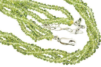 Design 10967: green peridot multistrand necklaces