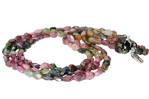 Design 10969: green,pink,multi-color tourmaline multistrand necklaces