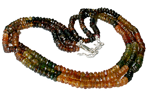 Design 10974: purple,yellow tourmaline multistrand necklaces