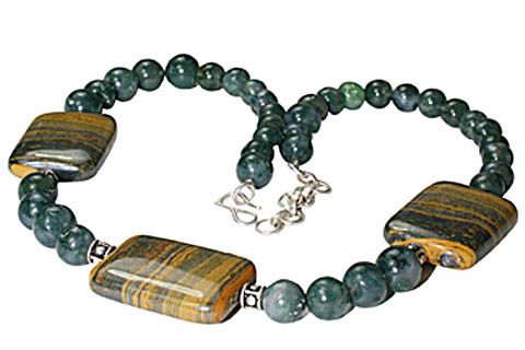 Design 11163: brown,green tiger eye necklaces
