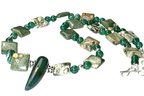 Design 11164: green jasper necklaces