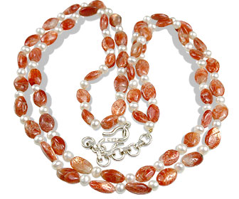 Design 11169: white sunstone multistrand necklaces