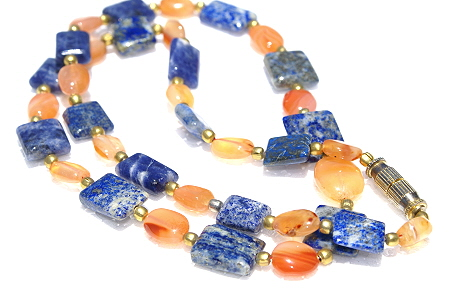 Design 11187: blue,orange carnelian necklaces