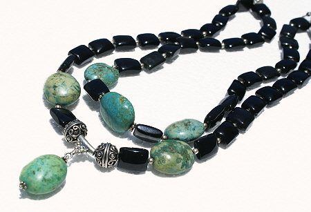 Design 11192: black,green agate multistrand necklaces