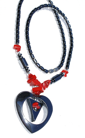Design 11208: black,red hematite chipped, contemporary, heart, tribal necklaces