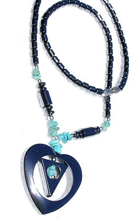 Design 11209: black,blue hematite chipped, contemporary, heart, tribal necklaces