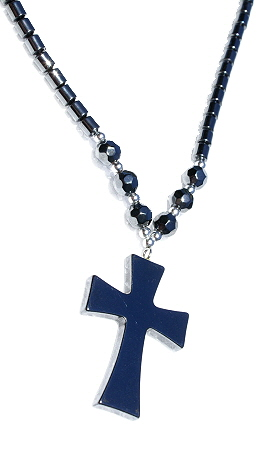 Design 11213: black hematite christian, contemporary, cross, pendant necklaces