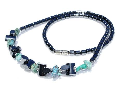 Design 11229: black,green hematite necklaces