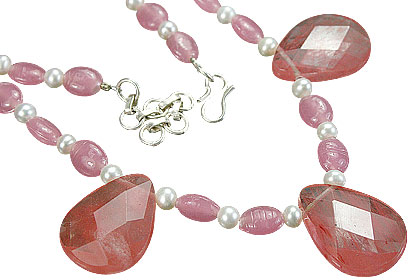 Design 11235: pink,white,multi-color quartz necklaces