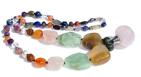Design 11357: multi,pink,green multi-stone necklaces