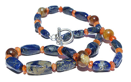 Design 11497: blue,orange lapis lazuli necklaces
