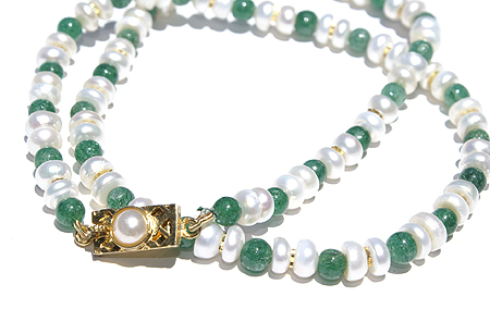 Design 11503: green,white pearl simple-strand necklaces
