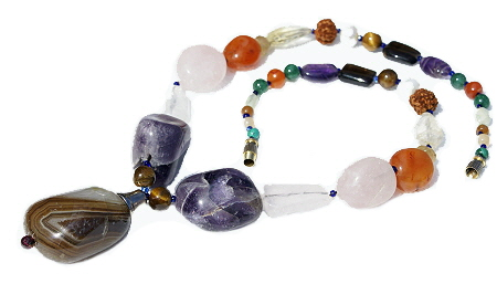 Design 11522: pink,purple,multi-color multi-stone chunky necklaces