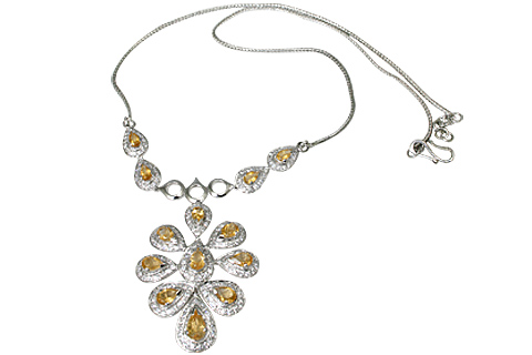 Design 11547: white,yellow citrine wedding necklaces