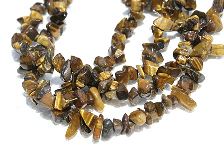 Design 11594: brown,gold tiger eye chipped, simple-strand necklaces