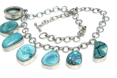 Design 11599: blue,green turquoise necklaces