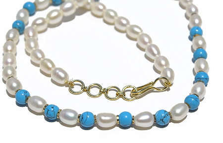 Design 11600: blue,white pearl simple-strand necklaces