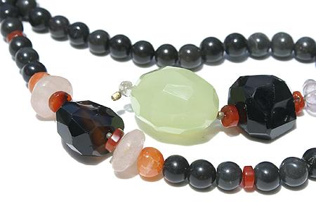 Design 11623: black,orange,multi-color multi-stone chunky, ethnic necklaces