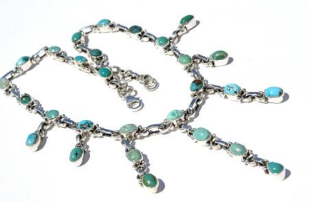 Design 11669: blue,green turquoise drop necklaces
