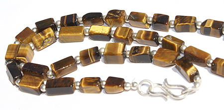 Design 11695: brown,gold tiger eye simple-strand necklaces