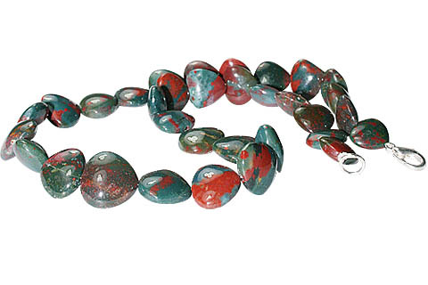 Design 11709: green,red bloodstone heart necklaces