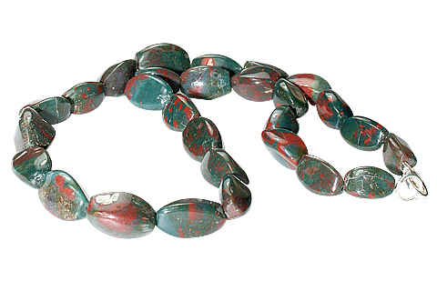 Design 11711: green,red bloodstone simple-strand necklaces