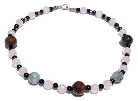 Design 11719: pink,red,multi-color rose quartz choker necklaces