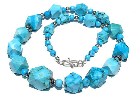 Design 11721: blue magnesite chunky necklaces