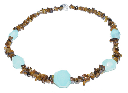 Design 11771: blue,brown,green tiger eye tumbled necklaces