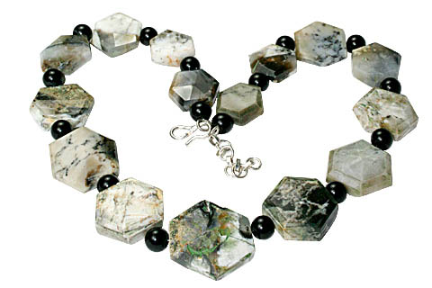 Design 11782: gray,white,multi-color moss agate chunky necklaces