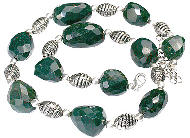 Design 11833: green bloodstone chunky necklaces