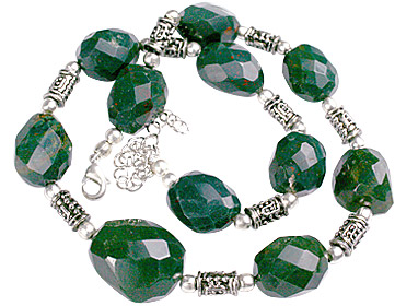 Design 11835: green bloodstone chunky necklaces