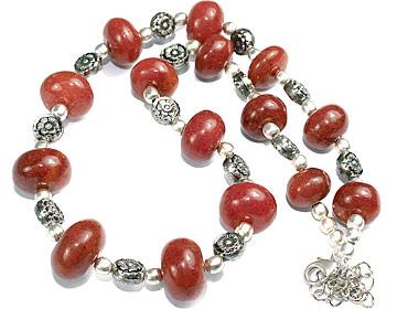 Design 11860: red indian jade necklaces
