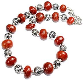 Design 11862: red indian jade necklaces