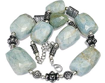 Design 11925: green aquamarine ethnic necklaces