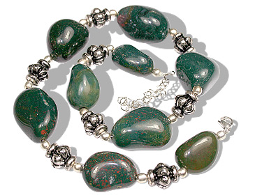 Design 11926: green,red bloodstone ethnic necklaces