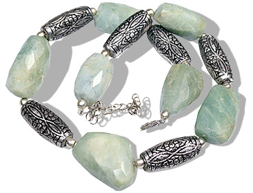 Design 11927: green aquamarine ethnic necklaces